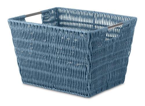 Whitmor Rattique Small Storage Tote Berry Blue