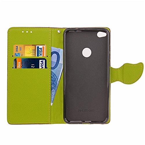 GR Para Huawei P8 Lite 2017 / Honor 8 Lite 2017 cierre magnético estilo de cuero de la PU Nature Leaf Wallet Flip Case Cover ( Color : Green ) Brown