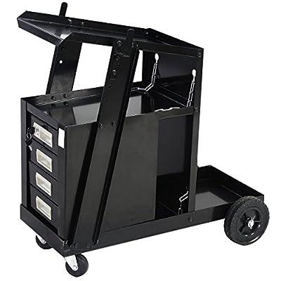 4 Drawers Welder Cabinet Cart MIG TIG ARC Welding Cutter Plasma Tank Storage Wheel Sliding Shelves Universal