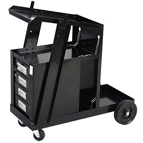 4 Drawer Cabinet Welder Cart Welding Plasma Cutter Wheel Tank Storage MIG TIG ARC Universal Steel Cabinet