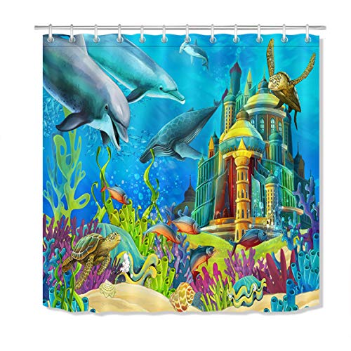 LB Under The Sea Scene Shower Curtains Set for Bathroom Underwater Aquarium Sea Turtle Whale Dolphin Kids Shower Curtain 70 x 70 Inch Fabric Shower Curtain Waterproof Mildew Free