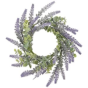 Lavender Soft Purple and Green 10 x 10 Acrylic Artificial Flower Candle Ring 22