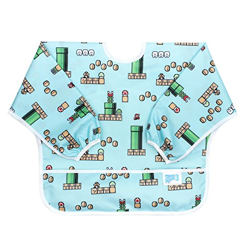 Bumkins Nintendo Sleeved Bib / Baby Bib / Toddler Bib / Smock, Waterproof, Washable, Stain and Odor Resistant, 6-24 Months  - Super Mario 8-Bit /Game]()