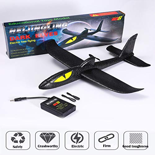 Throwing Foam Plane, Black Shark EPP Foam Electric Manual Throwing Gliding Roundabout Airplane Toy, Aeroplane Gliders, Gifts for Kids, 3 4 5 6 7 Year Old Boy,Sport Game Toys Birthday Party Favors