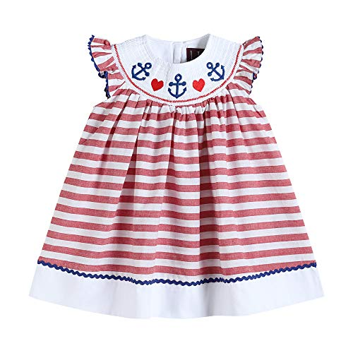 32152020093 Bishop Dress in Red Stripes & Anchor -