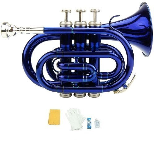 Merano B Flat Blue Pocket Trumpet with Case+Mouth Piece;Valve oil;A Pair Of Gloves;Soft Cleaning Cloth by Merano