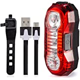 USB Rechargeable Bicycle Tail Light. Noza Tec RED High Intensity Rear LED Accessories, Fits on any Road Bikes, Helmets Cycling Safety Flashlight