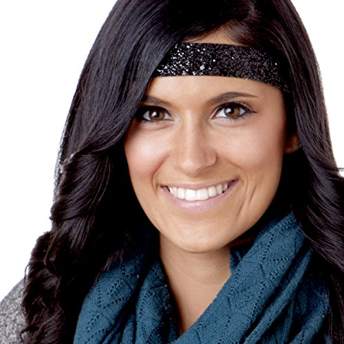 Hipsy Women's Adjustable NO Slip Wide Bling Glitter Headband -
