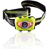 Brightest & Best Led Headlamp Flashlight with Red Lights for Reading Outdoor Running Camping Backpacking Fishing Hunting Climbing Walking Jogging - Waterproof Work Light Headlamps with Batteries