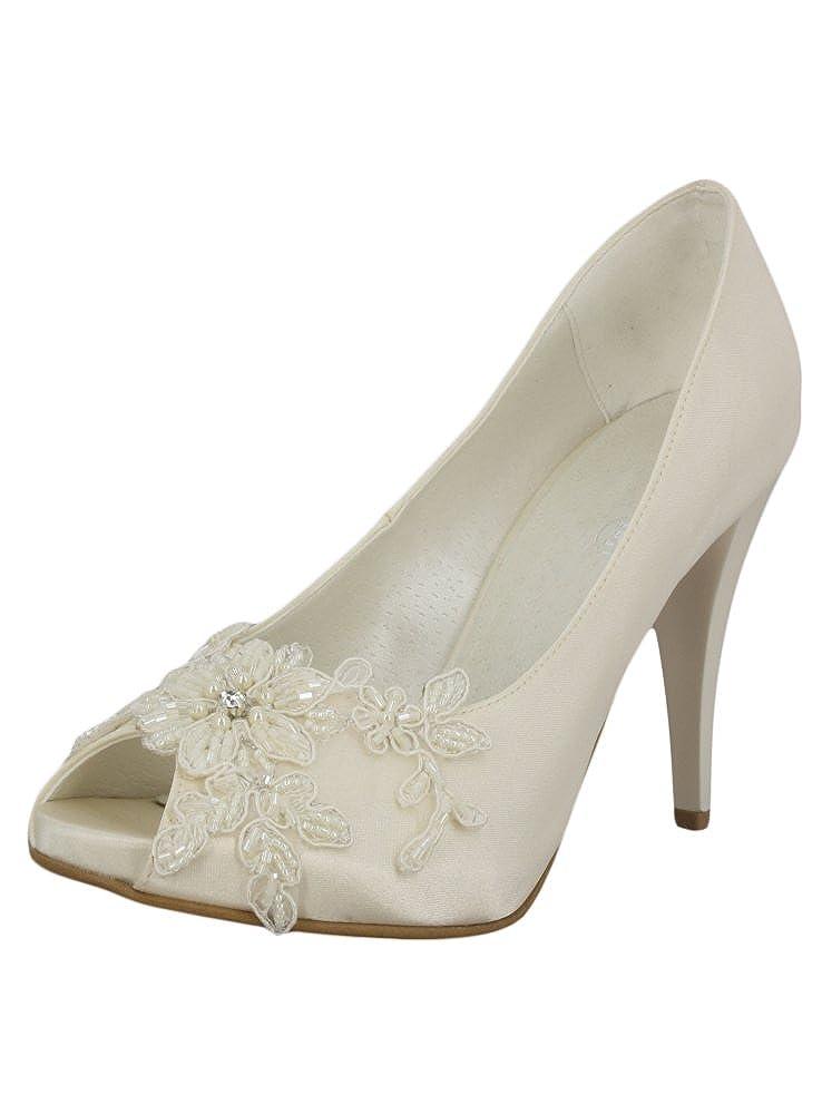 Boutique-Magique Chaussures Mariage Femme Satin Blanc ou Ivoire avec Dentelle