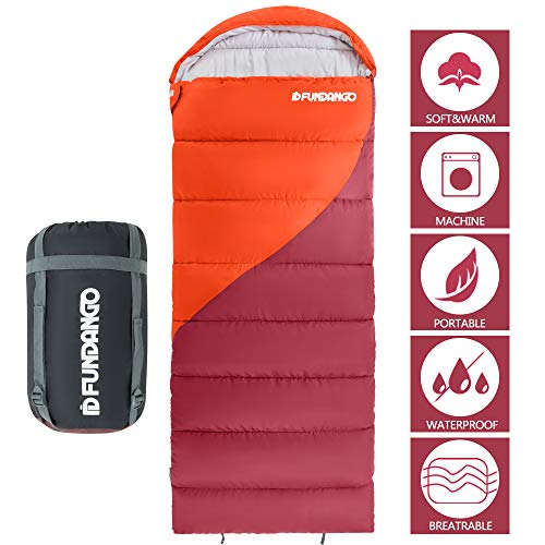 FUNDANGO Sleeping Bag with Compression Bag, Lightweight Waterproof Oversize Adult Sleeping Bag for 4 Season Traveling, Camping, Hiking, Outdoor Activities