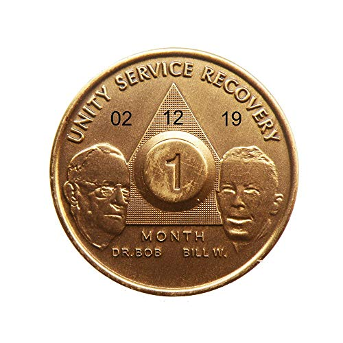 HPRS Personalized Custom Engraved Bill & Bob Founders Edition 1 Month Antique Bronze AA (Alcoholics Anonymous)-Sober-Sobriety-Birthday-Medallion-Chip-Token-Challenge - Engravable Bronze Antique