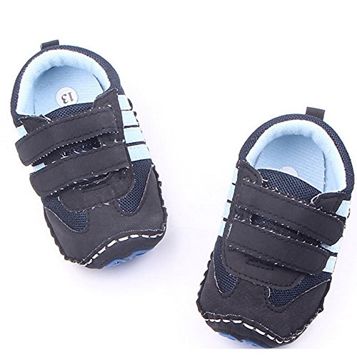Lidiano Baby Toddler Sewing Nubuck Upper Non Slip Rubber Sole Sneakers Slippers Loafers Crib Shoes (6-12 Months, Deep Blue) - Image 2