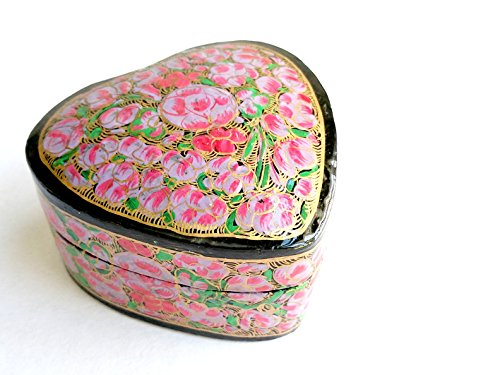 (Valentine Red Heart Gift Box/ Keepsake box/ Valentine Gift for her , Jewelry box , Decorative Red Box - Paper Mache Red Heart Trinket Jewellery Box - Love)