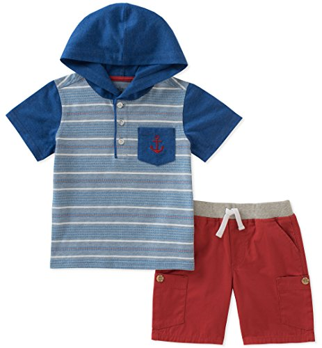 - Kids Headquarters Boys' Toddler 2 Pieces Hooded Shorts Set, Gray/red 3T
