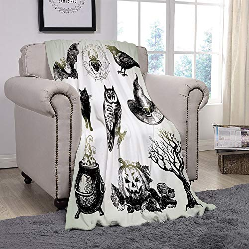 YOLIYANA Light Weight Fleece Throw Blanket/Vintage Halloween,Halloween Related Pictures Drawn by Hand Raven Owl Spider Black Cat Decorative,Black White/for Couch Bed Sofa for Adults Teen Girls Boys -