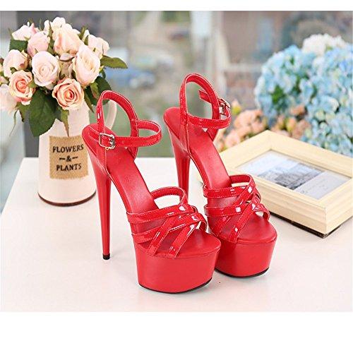 Fine 15Cm Chaussures Sexy HXVU56546 Crystal Femmes Talon Chaussures Avec Red Sandales D'Été À Princesse Haut qPC80BP