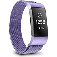 GreenInsync Compatible Fitbit Charge 3 Watch Bands, Stainless Steel Milanese Loop Metal Mesh Bracelet Sport Strap Small with Magnet Lock Wristbands Replacement Band for Fitbit Charge3, Lavender