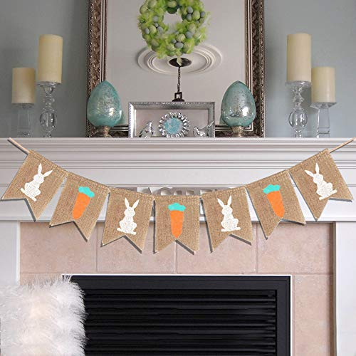 Easter Burlap Banner Decorations Rabbit Carrot Print Bunting Banner Easter Decor for Easter Party Favors House Outdoor Photo Props VAG072