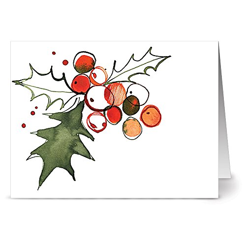 Leaf Holiday Card (24 Holiday Cards - Holly Leaves - Blank Cards - Green Envelopes Included)