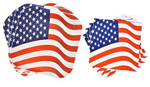 Square Patriotic Colors Plates and Napkins 28 Piece Set, Serves 14 (Stripes and Stars)