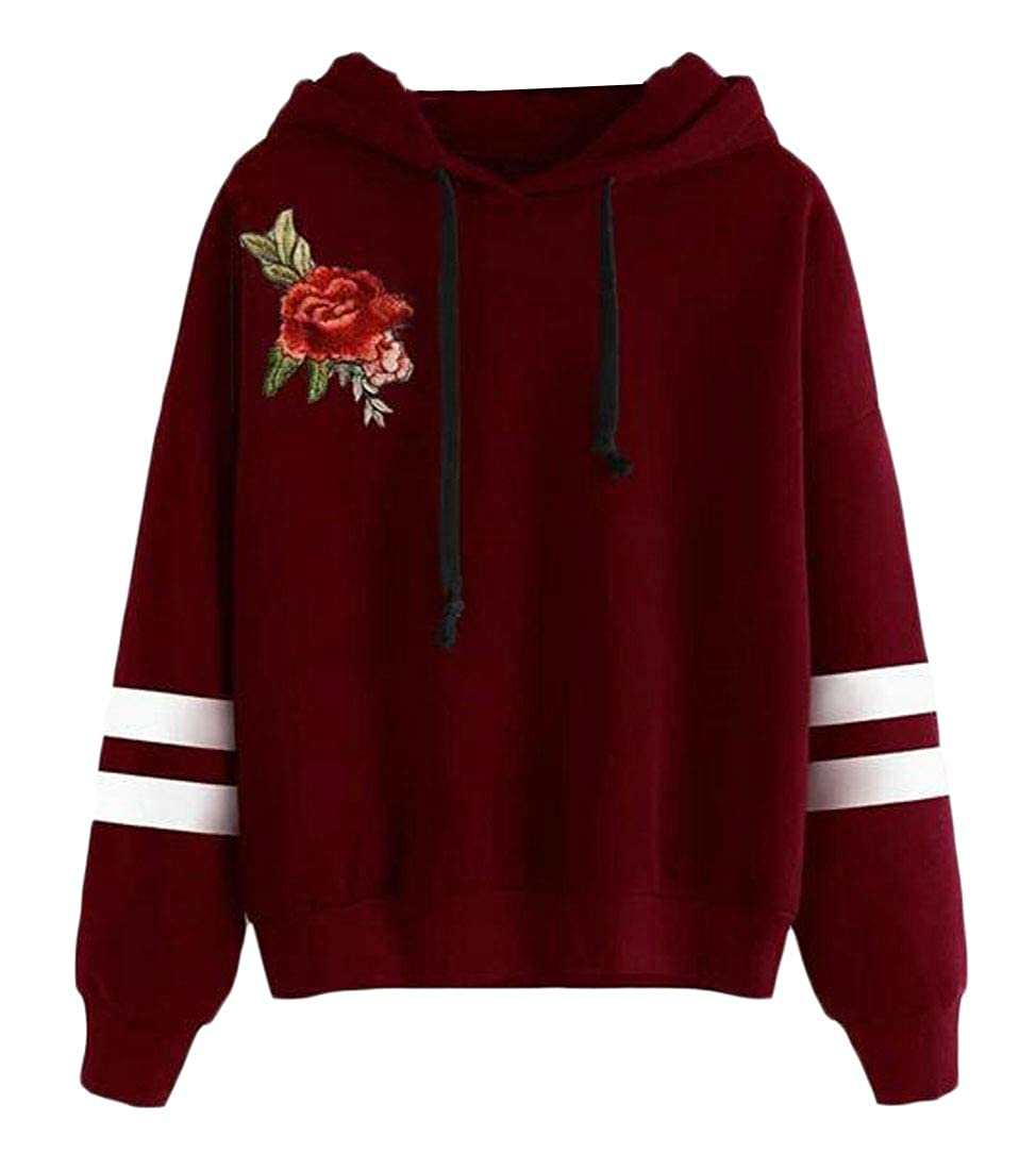 Cromoncent Women Stylish Hoodie Pullover Embroideried Top Sweatshirts