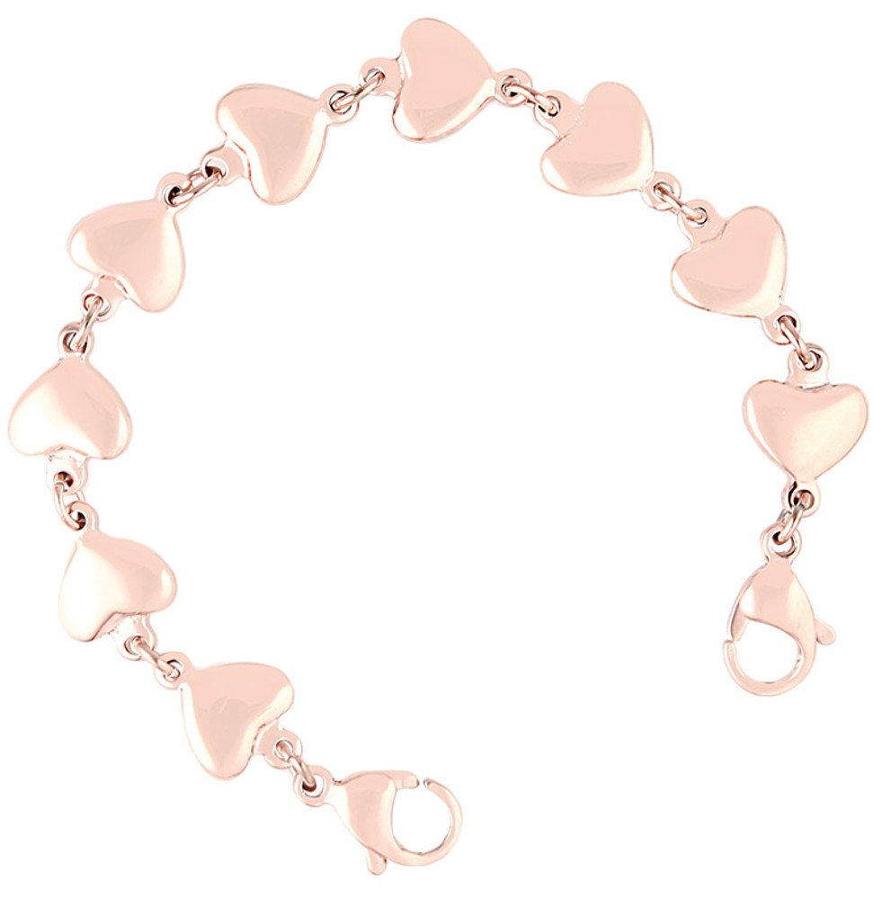 Medical ID Stainless Rose Gold Heart Link Replacement Bracelet (8.5)