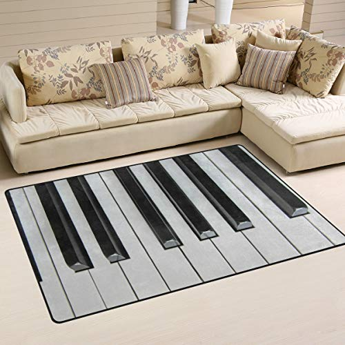 DEYYA Piano Keyboard 3D Area Rug,Piano Keyboard 3D Polyester Area Rug Mat for Living Room Bedroom Home Decorative 60x39 inches -