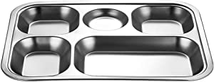 Idkska Stainless Steel Divided Dinner Tray Lunch Container Food Plate for School Canteen 3/4/5 Section