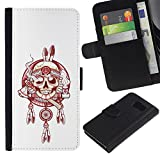 UPPERHAND ( Not For S6 EDGE ) Stylish Image Picture Black Leather Bags Cover Flip Wallet Credit Card Slots TPU Holder Case For Samsung Galaxy S6 SM-G920 - Indian chief peace smoke white red