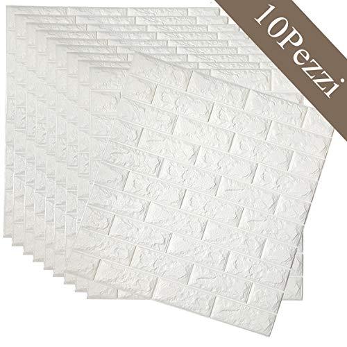 Arthome 10 Pack 56.9 Sq.Ft Faux Foam Bricks 3D Wall Panels Peel and Stick Wallpa