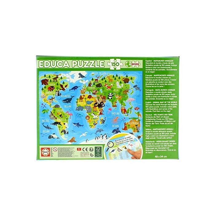 51a9rsLvOiL Puzzles de 150 piezas , horas de diversión y entretenimiento; dimensiones aproximadas del puzzle montado: 40 x 28 cm Puzzles inspirados en Mapamundi Animales Compuestos por grandes piezas, perfectamente acabadas para que sea sencilla y segura su manipulación por los niños