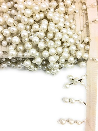 1-1/2 inch Long White Pearl Silver Bugle Beaded Fringe Trim 3-yards- Beaed ()