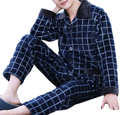 Flannel Warm 1 Keep Warm Mens UK Nightwear Sleeve today Winter Long Home Pyjama Set qtOzvfvW
