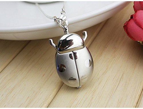 - Water Hep Pocket Watch Keychain Brand Fashion Colorful Ladybug Necklace Pocket Pendant Dress Quartz Watch Kids Girls Keychain Silver