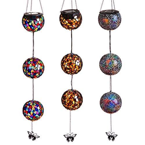 Evergreen Hanging Solar Mosaic Decorative Globes; one pc, Random