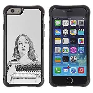 Suave TPU GEL Carcasa Funda Silicona Blando Estuche Caso de protección (para) Apple Iphone 6 PLUS 5.5 / CECELL Phone case / / Sweater Pencil Drawing Portrait /