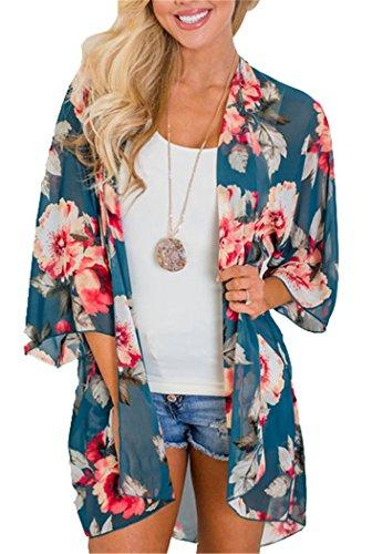 TBONTB Womens Cardigan Floral Chiffon Blouse Kimono Cover up Medium Teal Blue