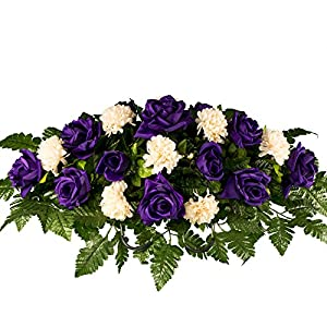 Purple Rose with Cream Mums Artificial Saddle Arrangement (SD1827) 25