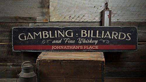 Juego de billar y de Bellas Whisky Letrero de madera, Custom Home ...