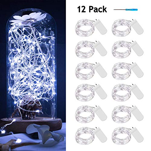12 pack Fairy Lights Battery Operated, 20 Leds Mini Starry String Lights 6.6ft Silvery Copper Wire Lights,2pcs CR2032(Incl),Works for Wedding Centerpiece,Party,Table Decorations(Cool White) (Table Dining Centerpieces Cool)
