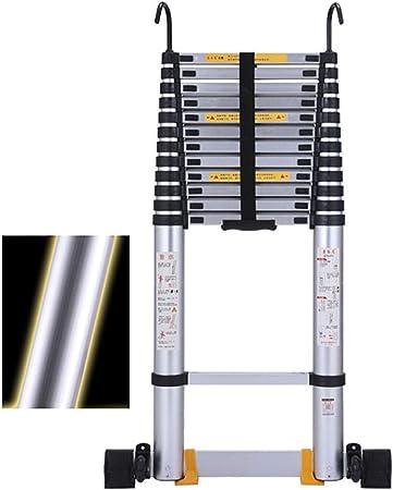 FF Escaleras Telescópicas Multifunción Escalera Telescópica de Aluminio Extra Alta con Gancho, Escalera Telescópica DIY Loft de Ingeniería Multipropósito con Barra Estabilizadora, Capacidad de 330 LB: Amazon.es: Hogar