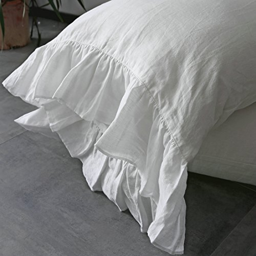 French Linen Pillow - ESASILK 100% French Linen Pillowcase Ruffles Pillow cover King Queen Twin 1 pcs (KING, WHITE)