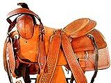 15 16 17 Western Trail Basket Weave Tooled Pleasure Leather Horse Roping Saddle
