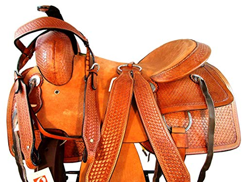 Tooled Roper Breast Collar - 15 16 17 Western Trail Basket Weave Tooled Pleasure Leather Horse Roping Saddle (15 Inch)