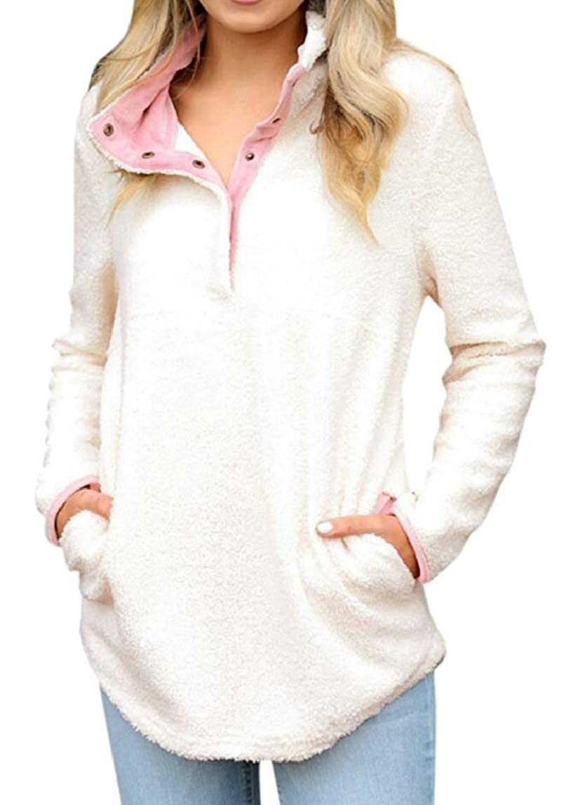 HTOOHTOOH Women Casual Fleece Relaxed Fit Stand Collar Snap-Buttons Pullover Sweatshirts