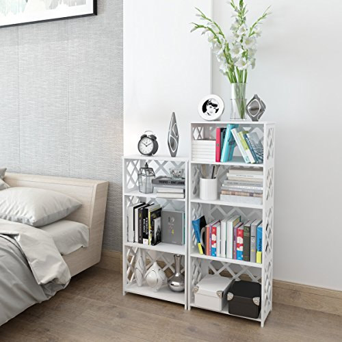 Rackaphile 4-Tier Bookcase Storage Shelf, Wood Plastic Waterproof Bookshelf Storage Organizer Shelving Unit Display Rack Book Shelf for Living Room Bathroom Office White by Rackaphile (Image #3)