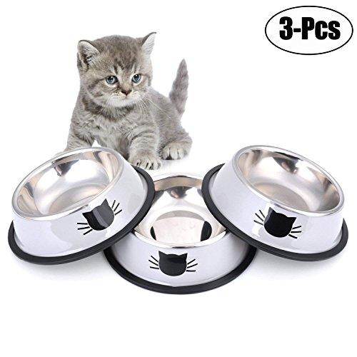 - Legendog Cat Bowl Pet Bowl Stainless Steel Cat Food Water Bowl Non-Slip Rubber Base Small Pet Bowl Cat Feeding Bowls Set of 3 (Grey)