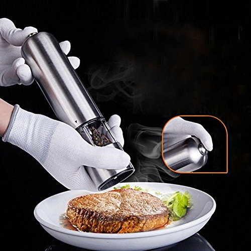 HomeYoo Electronic Salt and Pepper Shakers Grinders, Stainless Steel Salt & Peppercorn Mill with Adjustable Coarseness LED lights,Battery Operated (Batteries not included) (Silver_electric)