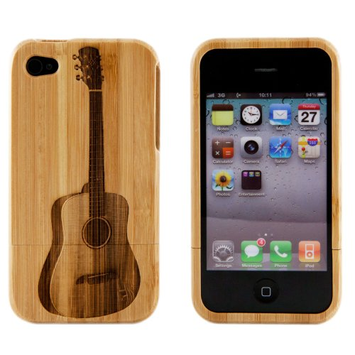 Boho Tronics Bohobamboocases Natural Handmade hard wood Bamboo Engraved Acoustic Guitar Case Cover For iPhone 6 For Apple iPhone 6 (4.7-Inch)